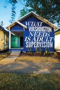 Say what? A shotgun-style house in Houston painted by artist/activist Rick Lowe.