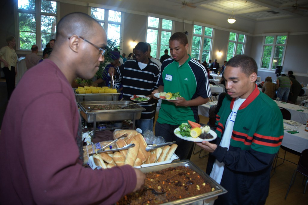 "Youth attend a ""Youth Hip Hop Green Dinners"" where they enjoy hip-hop artists and their first vegan meal!"
