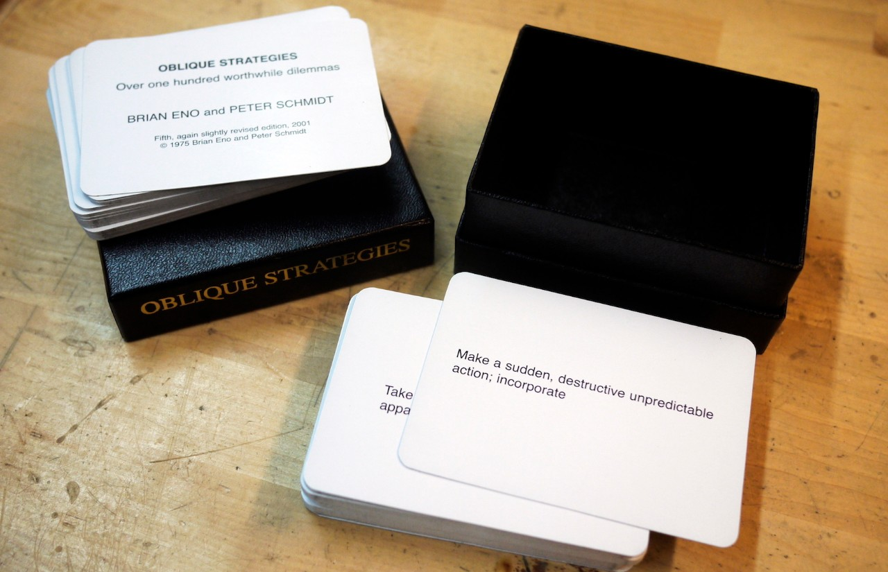 Oblique Strategies  by Brian Eno and Peter Schmidt box