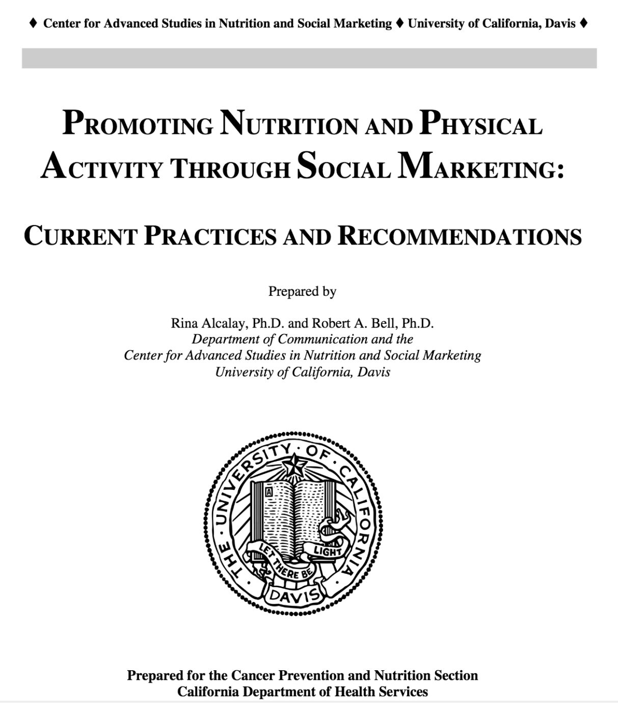 Promoting Nutrition and Physical Activity Through Social Marketing cover page
