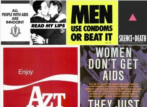 Collage of Avram Finkelstein's work