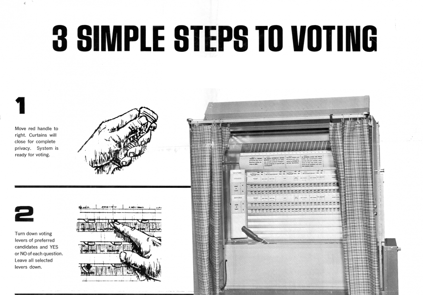 Illustration of an 1960s era voting machine