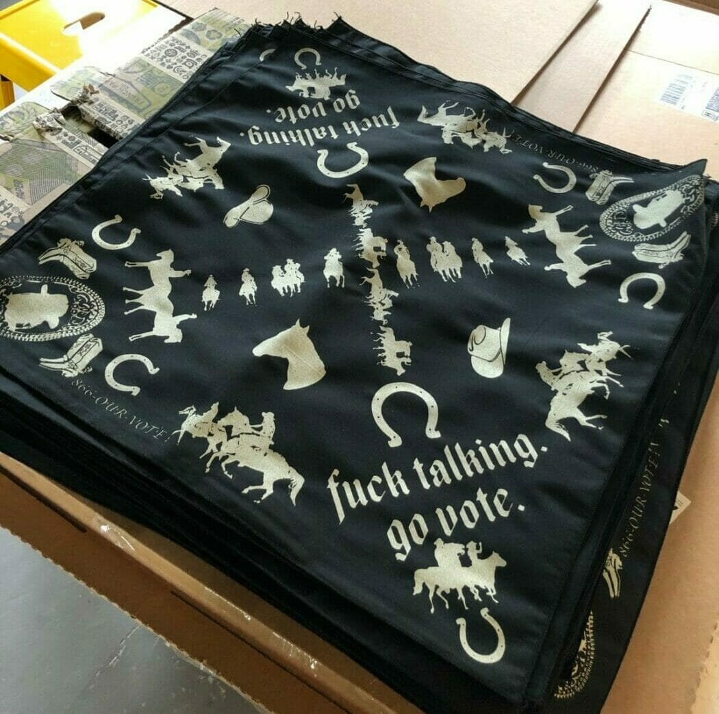 Bandanas for the Fuck Talking Go Vote project